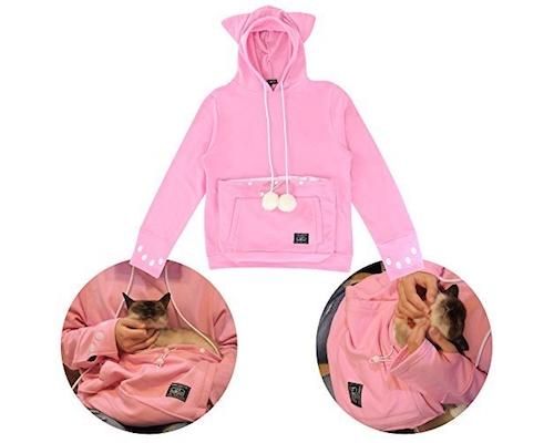 Mewgaroo Hoodie Pet Pouch Sweatshirt (Pink)