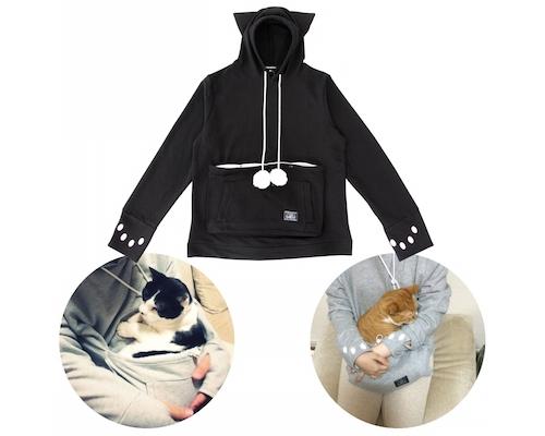 Mewgaroo Hoodie Pet Pouch Sweatshirt (Black)